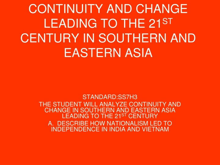 continuities and changes in south asia Americas sub-saharan africa southeast asia southwest asia • analyze the changes and continuities in the two of the following gunpowder  east asia south asia sub.