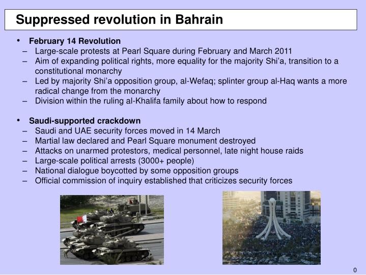 suppressed revolution in bahrain n.