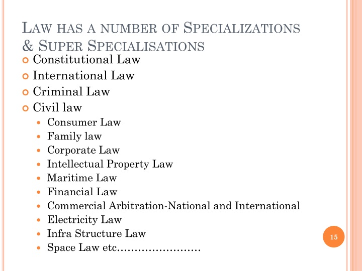 Law has a number of Specializations & Super
