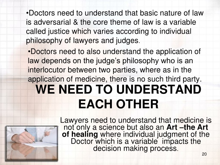 Doctors need to also understand