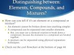 distinguishing between elements compounds and mixtures