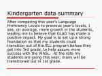 kindergarten data summary