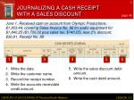 journalizing a cash receipt with a sales discount