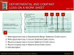 departmental and company loss on a work sheet