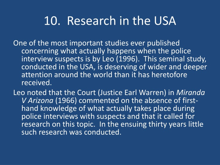 10.  Research in the USA