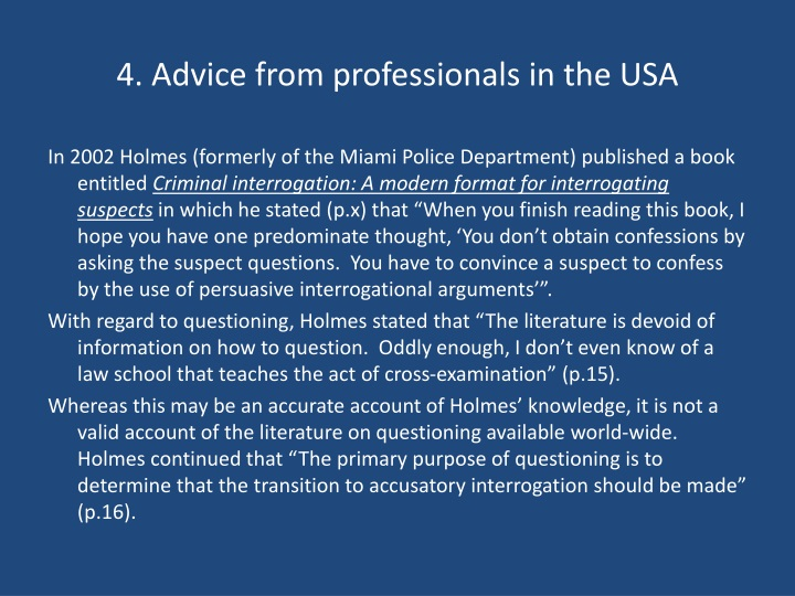 4. Advice from professionals in the USA
