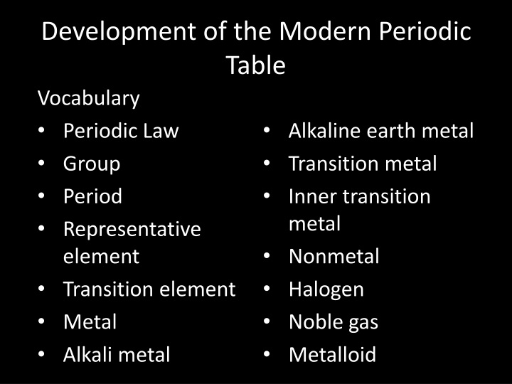 Ppt the periodic table and periodic law powerpoint presentation development of the modern periodic table vocabulary urtaz Choice Image