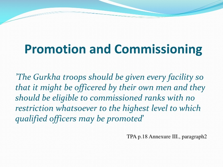 Promotion and Commissioning