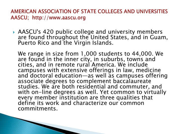 AMERICAN ASSOCIATION OF STATE COLLEGES AND