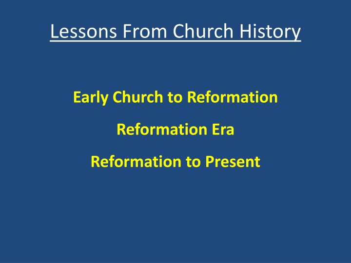 lessons from church history n.