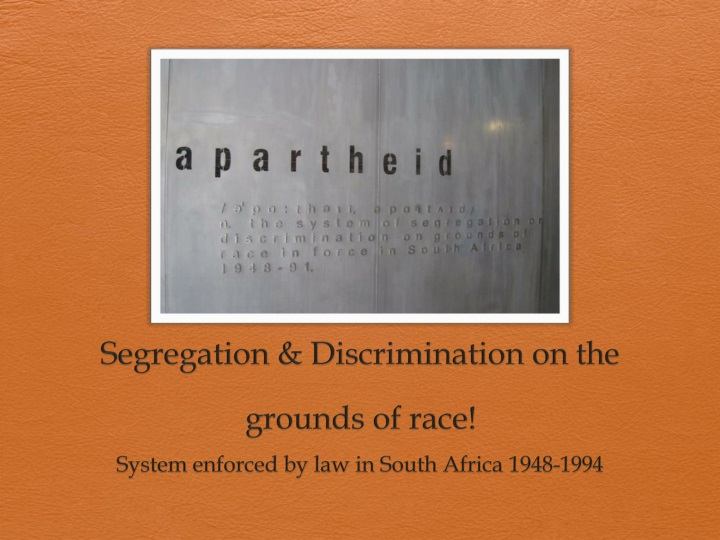 segregation laws in south africa Several laws enforcing racial segregation of foreigners from chinese were  the population registration act in 1950 classified residents in south africa into.