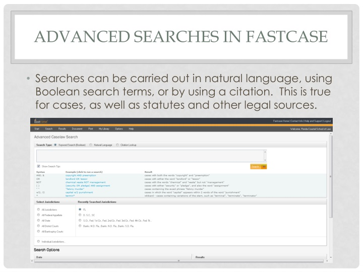 Advanced Searches in Fastcase