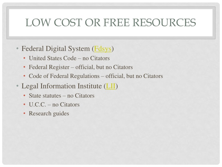low cost or free resources