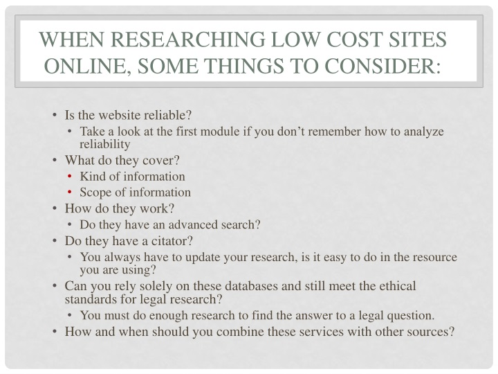 when researching LOW COST SITES online, SOME things to consider: