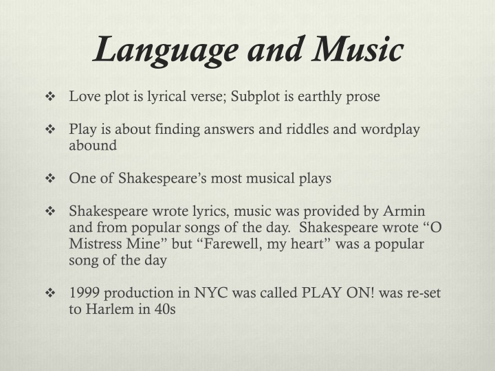 PPT - TWELFTH NIGHT or What You Will PowerPoint Presentation