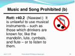 music and song prohibited b