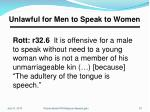 unlawful for men to speak to women