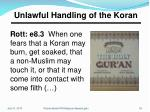 unlawful handling of the koran