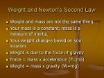 weight and newton s second law
