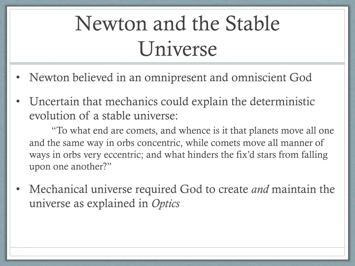Newton and the Stable Universe