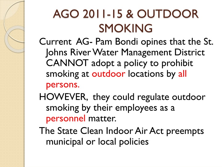 AGO 2011-15 & OUTDOOR SMOKING