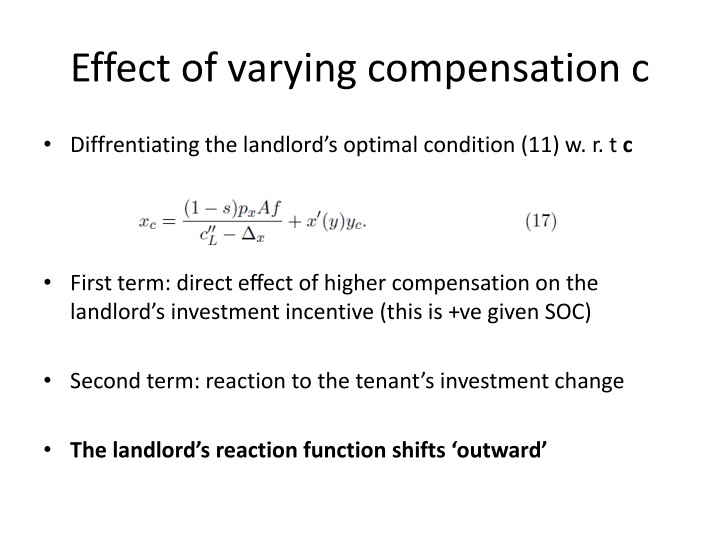 Effect of varying compensation c