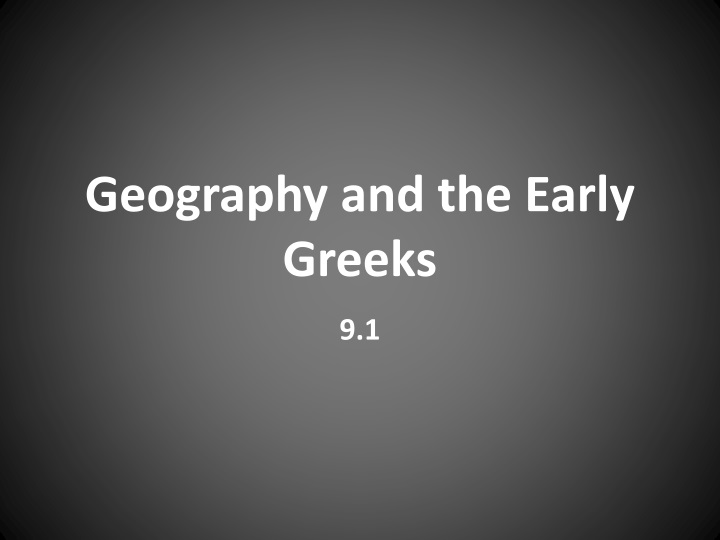 geography and the early greeks n.