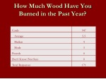 how much wood have you burned in the past year