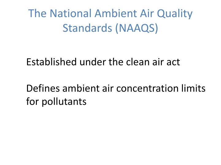 The national ambient air quality standards naaqs