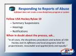 responding to reports of abuse safesport does not create a new disciplinary program or system