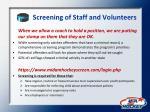 screening of staff and volunteers