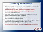 screening requirements