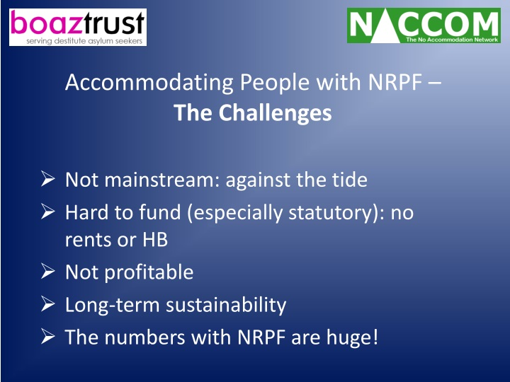 Accommodating People with NRPF –