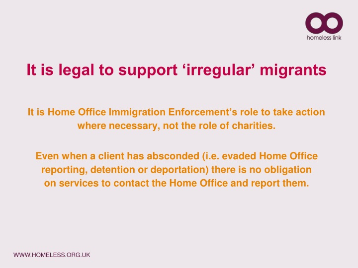 It is legal to support 'irregular' migrants