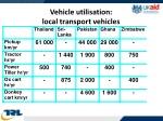 vehicle utilisation local transport vehicles