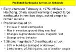 predicted earthquake arrives on schedule