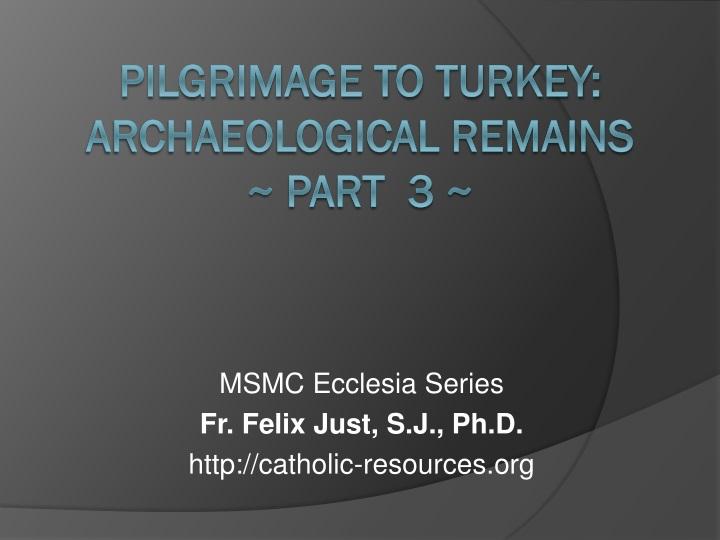 msmc ecclesia series fr felix just s j ph d http catholic resources org n.