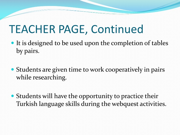 TEACHER PAGE, Continued