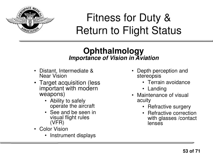 PPT - Presented by the Aerospace Medical Association PowerPoint