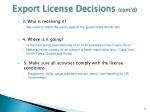 export license decisions cont d