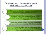 summary of testimonies from buddhist literature