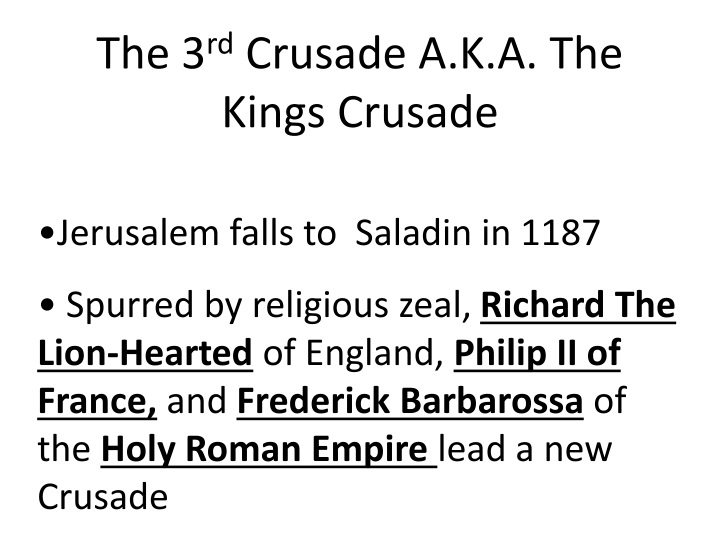the 3rd crusade essay Richard and saladin: the third crusade this essay richard and saladin: the third crusade and other 64,000+ term papers, college essay examples and free essays are available now on reviewessayscom autor: review • february 28, 2011 • essay • 1,448 words (6 pages) • 924 views.