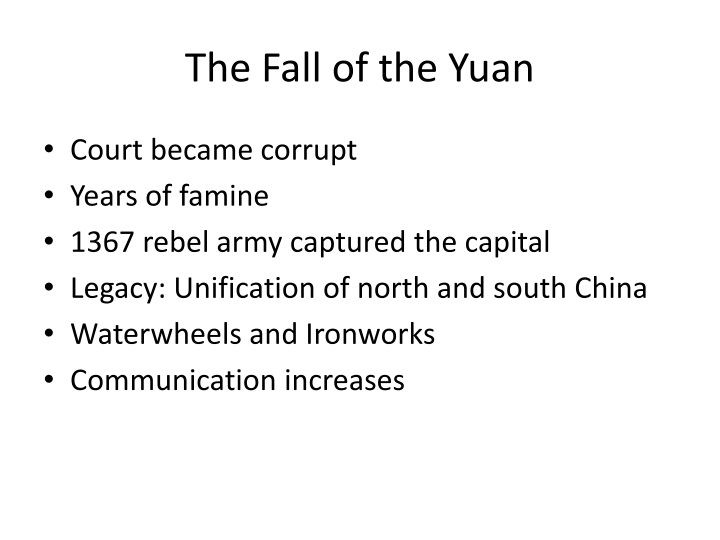 The Fall of the Yuan
