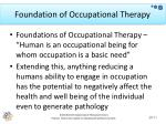 foundation of occupational therapy
