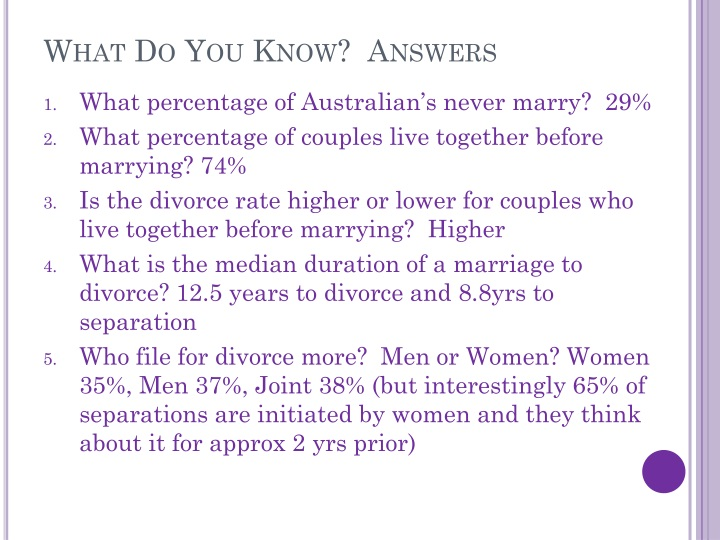 What Do You Know?  Answers