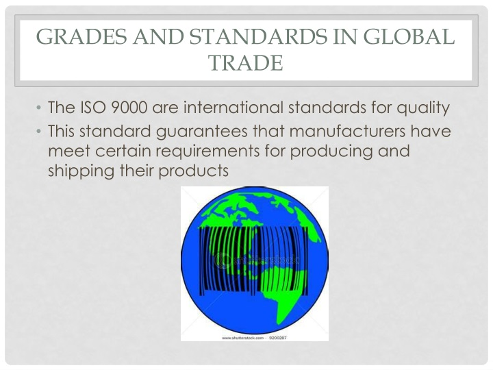 Grades and standards in global trade