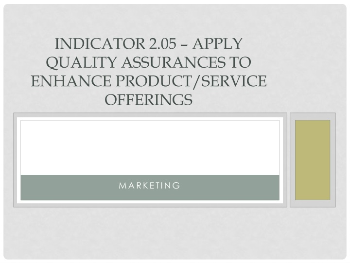 Indicator 2 05 apply quality assurances to enhance product service offerings