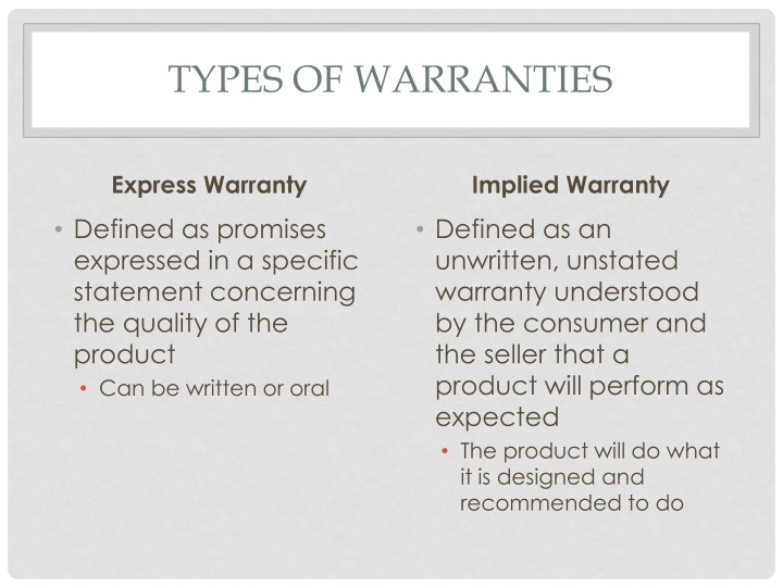 Types of warranties