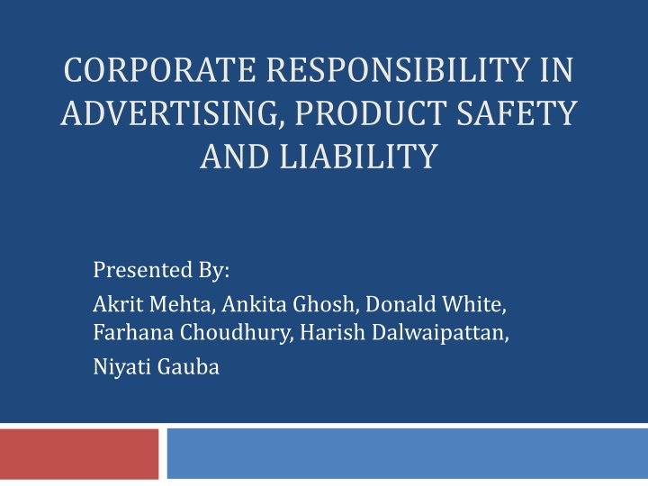 corporate responsibility in advertising product safety and liability n.