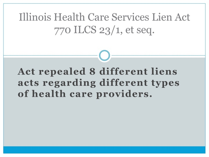 Illinois health care services lien act 770 ilcs 23 1 et seq